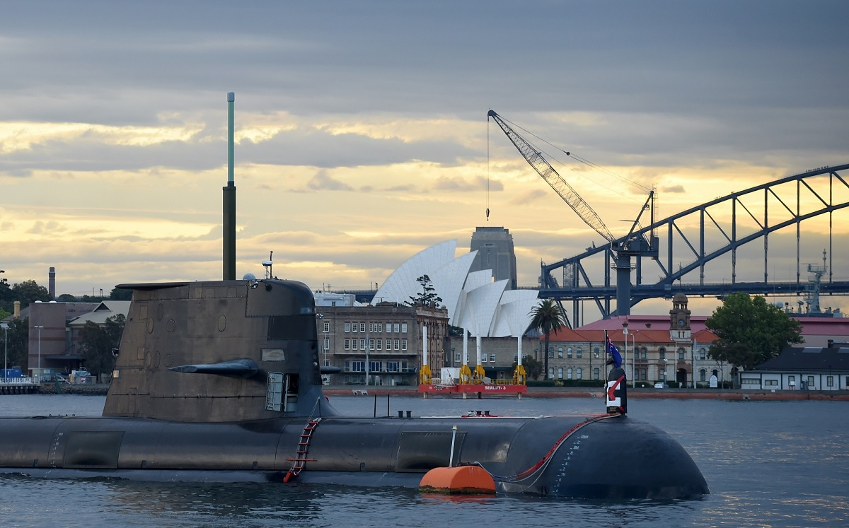 In this photo taken on October 12, 2016, a Royal Australian Navy diesel and electric-powered Collins Class submarine sits in Sydney Harbour. Thales has sealed a deal worth AU $230 million (U.S. $169 million) to boost the sonar capability on the Australian Navy's six-strong fleet. (PETER PARKS/AFP/Getty Images)