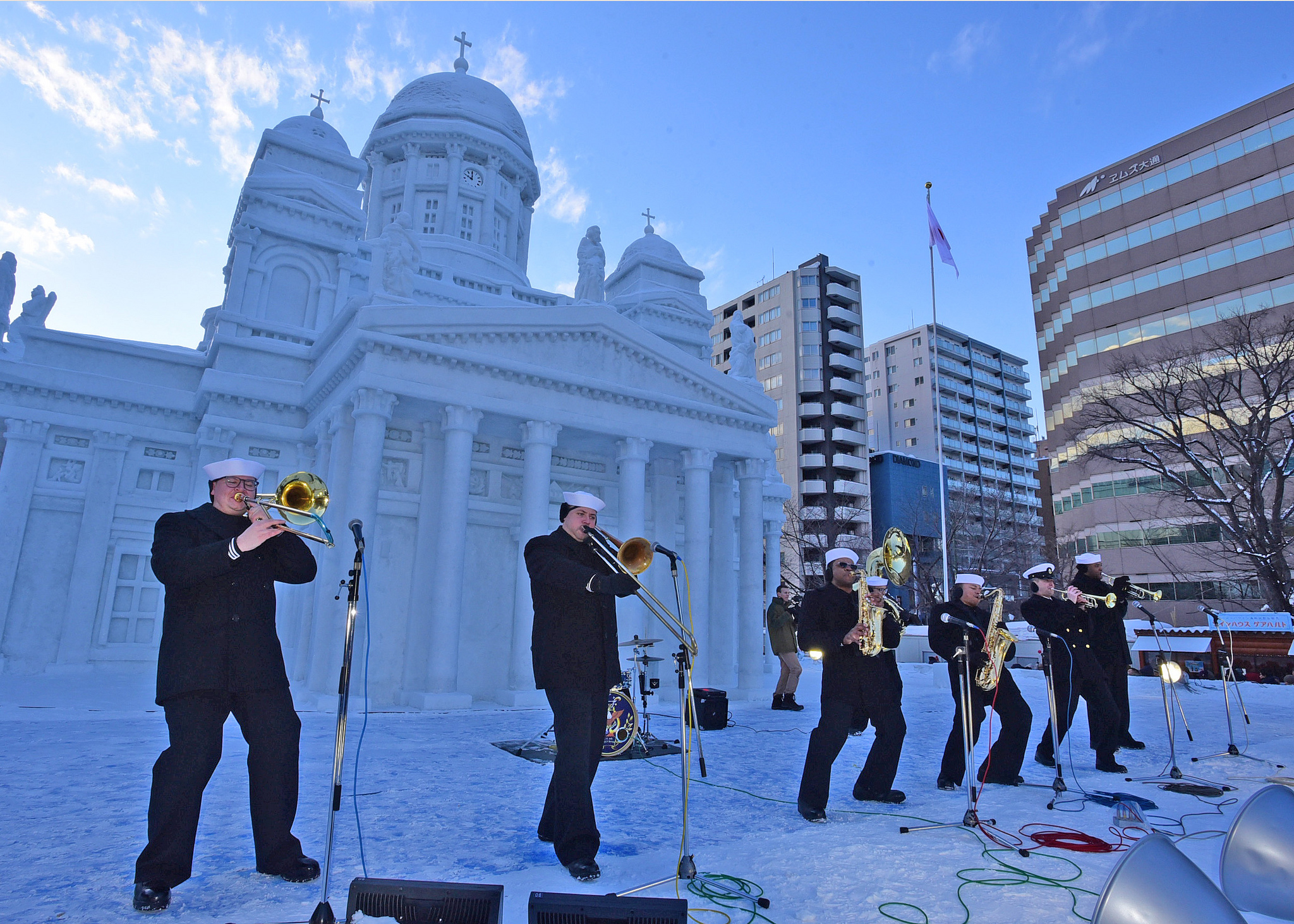 The U.S. 7th Fleet Band ensemble, Broadside Brass Band, performs at the 70th annual Sapporo Snow Festival on Feb. 9, 2019. (Mass Communication Specialist 2nd Class Adam K. Thomas/Navy)