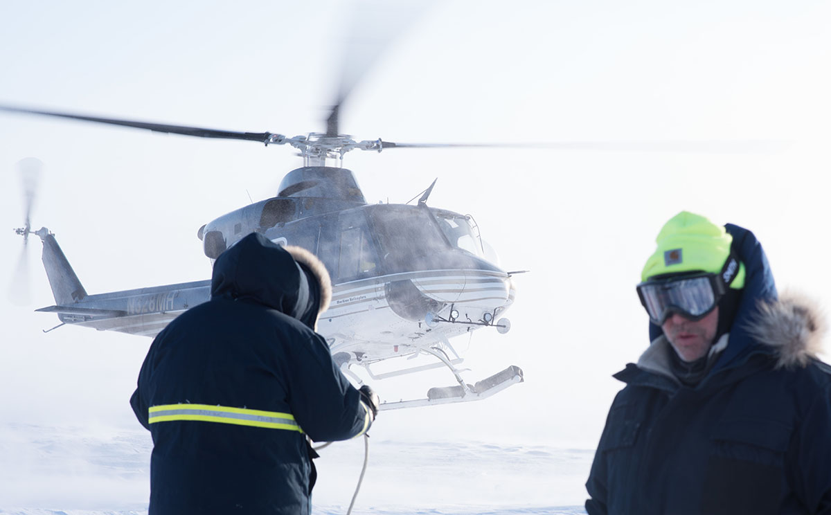 Ice Camp Skate (March 16, 2018) – Members of Ice Camp Skate prepare to recover a torpedo during a torpedo exercise in the Arctic Circle in support of Ice Exercise (ICEX) 2018, March 16. (photo by MC1 Daniel Hinton/Navy)