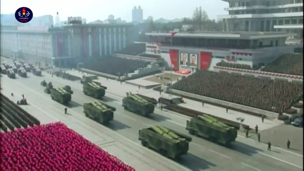 North Korea paraded its military arsenal through its capital in celebration of the 70th anniversary of the founding of the Korean People's Army. (Korean Central Television)