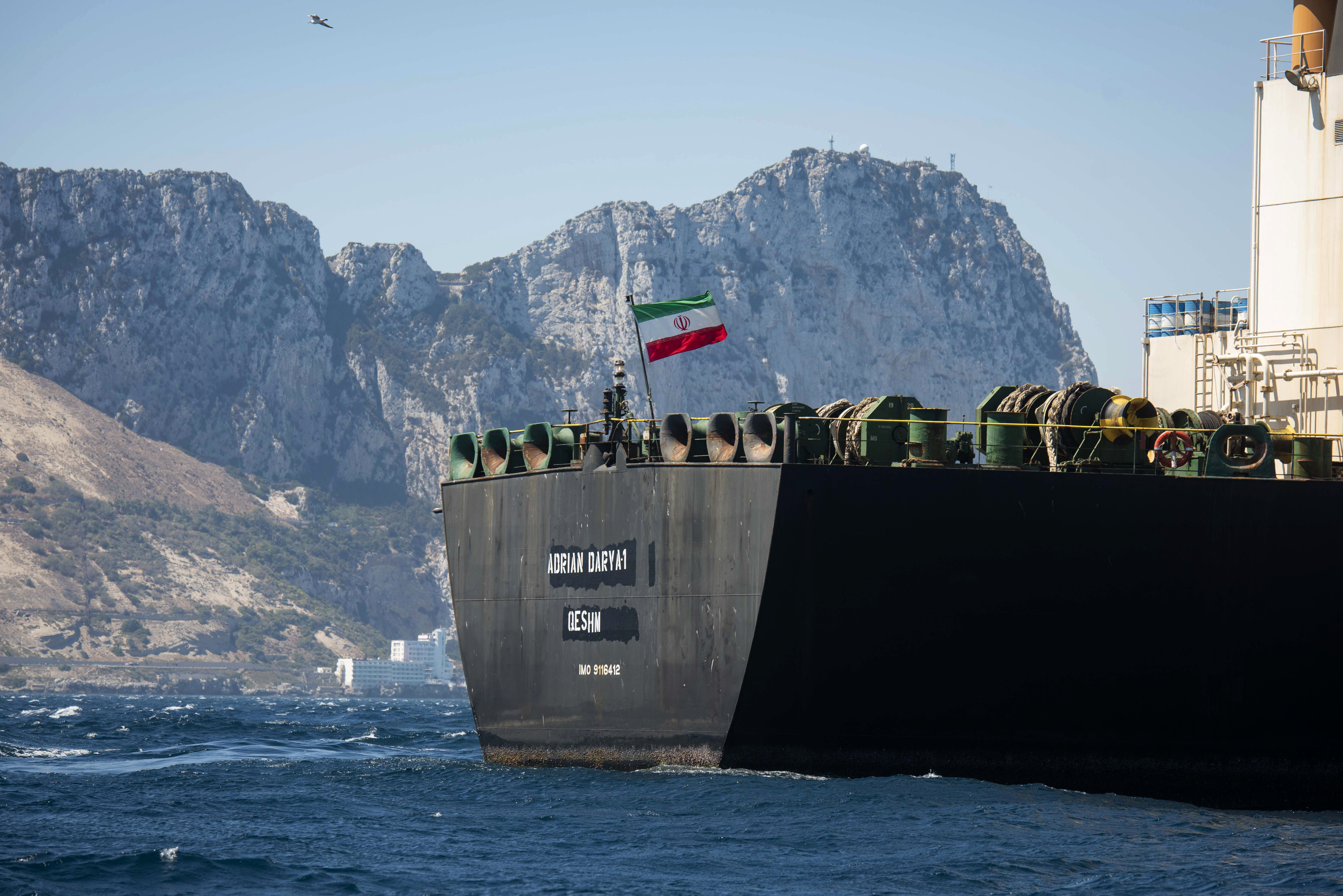 Renamed Adrian Aryra 1 super tanker hosting an Iranian flag sails in the waters in the British territory of Gibraltar, Sunday, Aug. 18, 2019. (Marcos Moreno/AP)