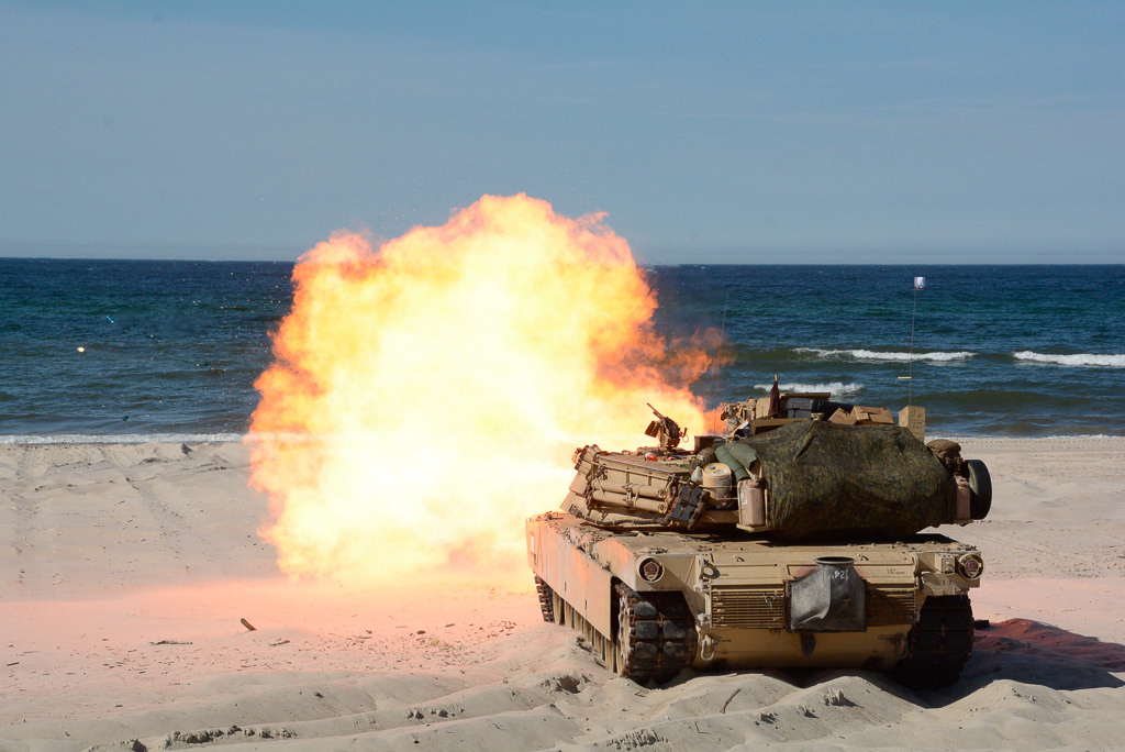 A U.S. Marine Corps M1A1 Abrams tank participates in a live-fire target exercise during BALTOPS 2018 on June 9. (Adam C. Stapleton/U.S. Navy)
