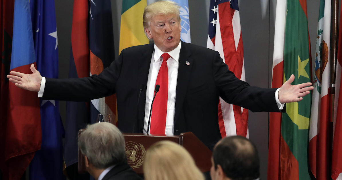 President Donald Trump speaks to the United Nations General Assembly, Tuesday, Sept. 25, 2018, at U.N. Headquarters. In comments on the sidelines of the event, Trump said a military coup could quickly depose the leader of Venezuela, which he said is a