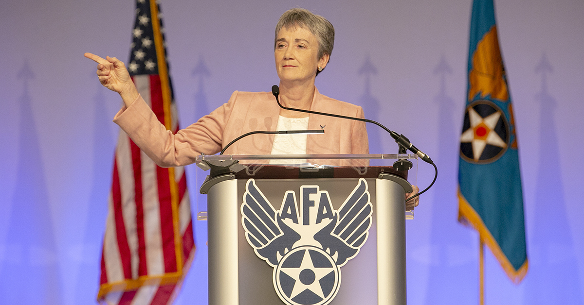 Secretary of the Air Force Heather Wilson speaks during the opening day of the Air Force Association's Air, Space and Cyber Conference held at the Gaylord National Resort & Conference Center in Oxon Hill, Md.(Alan Lessig/Staff)