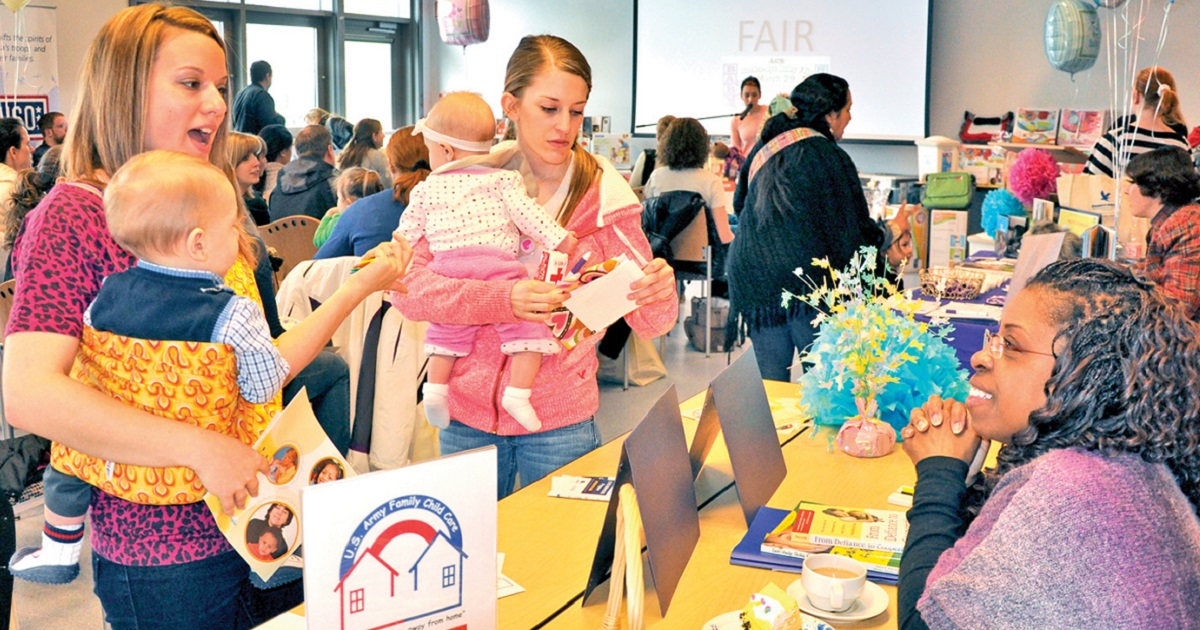 Moms and moms-to- be can find support (and free baby stuff) at events on and outside military installations. Here, Wiesbaden Entertainment Center hosts a