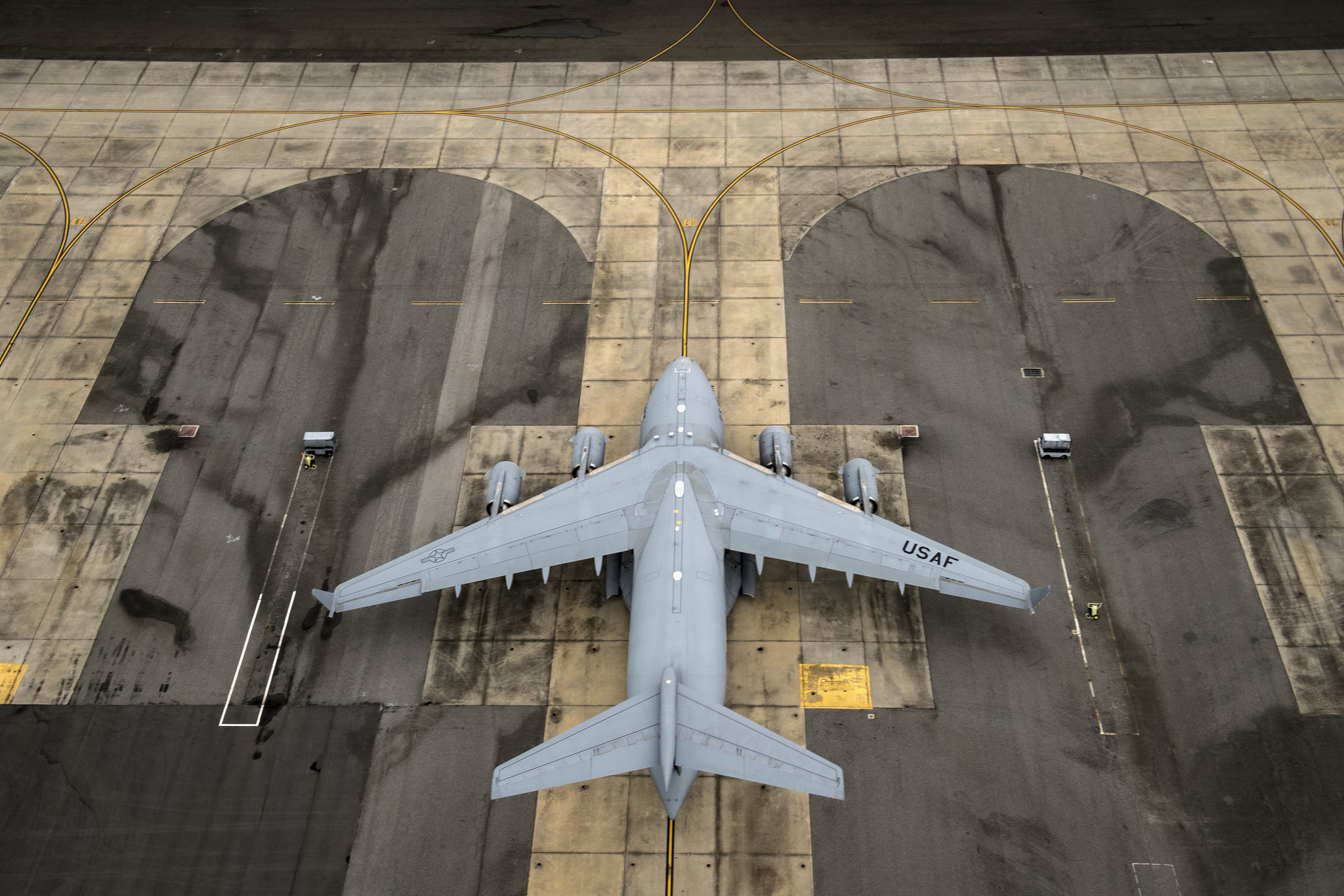 A U.S. Air Force C-17 Globemaster III sits on the flightline, Sept. 16, 2018, at Joint Base Charleston, S.C.. Following Hurricane Florence, Air Force search and rescue assets staged at Charleston in order to be ready to provide rescue capabilities if the need were to arise. (Staff Sgt. Ryan Callaghan/Air Force)
