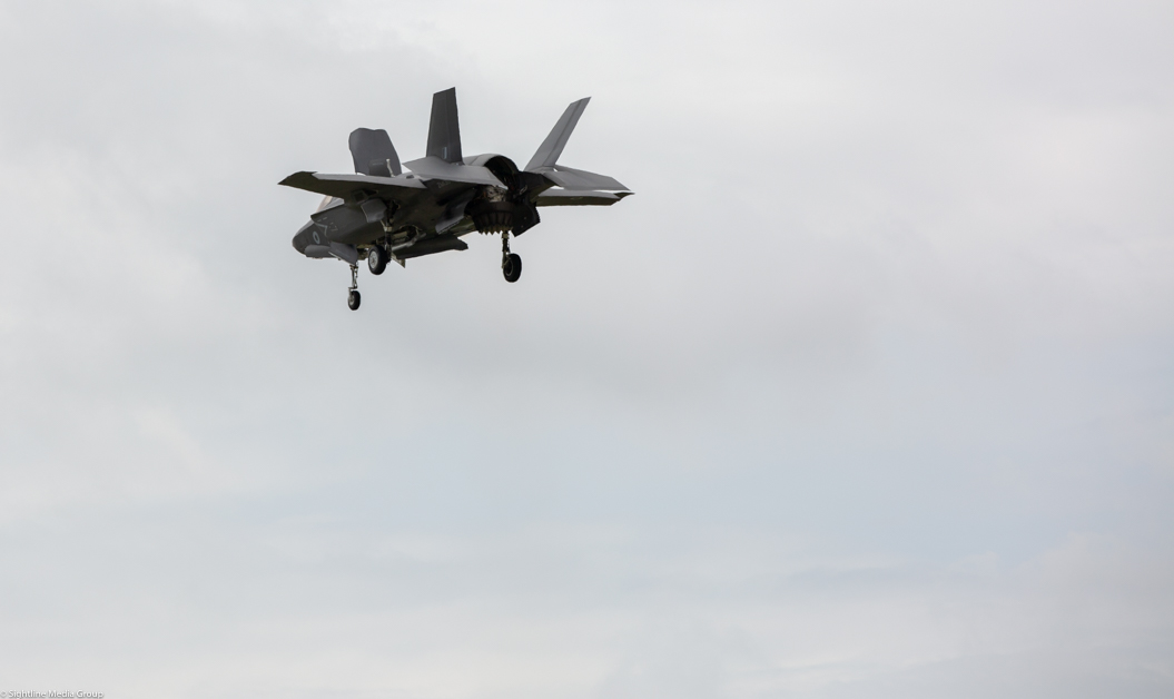 An RAF F-35B makes a vertical landing at MCAS Beaufort in South Carolina after a training flight.(Jeff Martin/Staff)