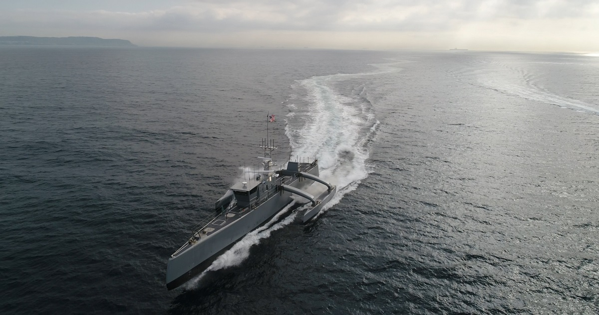 The U.S. Navy is taking its first few steps into a radical future, which, if it comes to pass, will upend how the fleet has fought since the Cold War. Then-Rear Adm. Ron Boxall told Defense News, when he was the surface warfare director, about the service's plan to develop and unleash lethal, unmanned robot ships as a means to counter Chinese maritime advancements and, to a more limited extent, those of Russia. (U.S. Defense Advanced Research Projects Agency)
