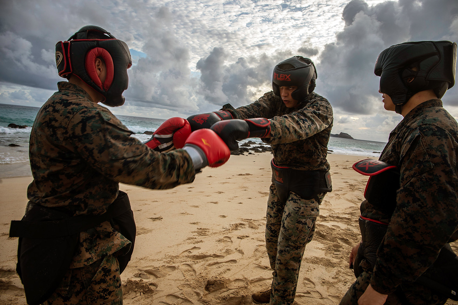 Students with the Marine Martial Arts Instructors Course touch gloves prior to sparring at Marine Corps Base Hawaii, Sept. 12, 2019. (Cpl. Matthew Kirk/Marine Corps)