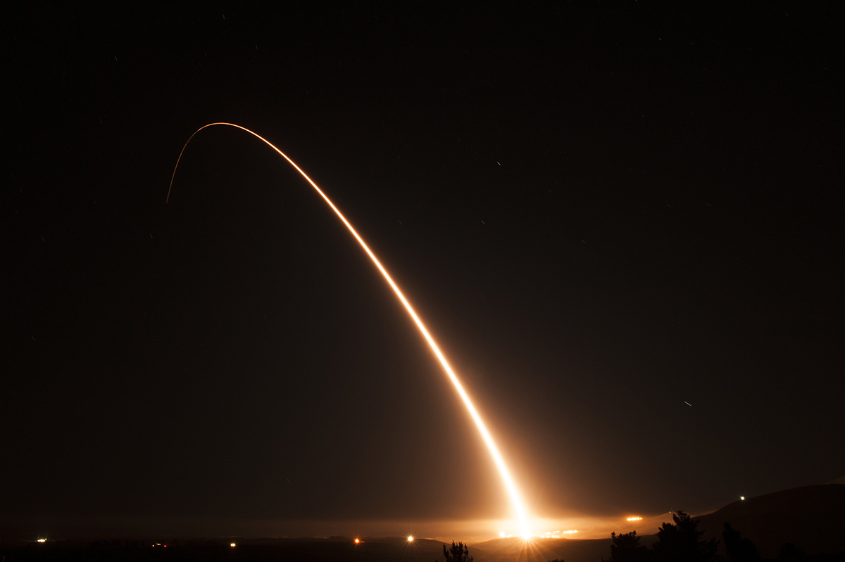 An unarmed Minuteman III intercontinental ballistic missile launches during an operational test on Nov. 6, 2018, at Vandenberg Air Force Base, Calif. (Tech. Sgt. Jim Araos/U.S. Air Force)