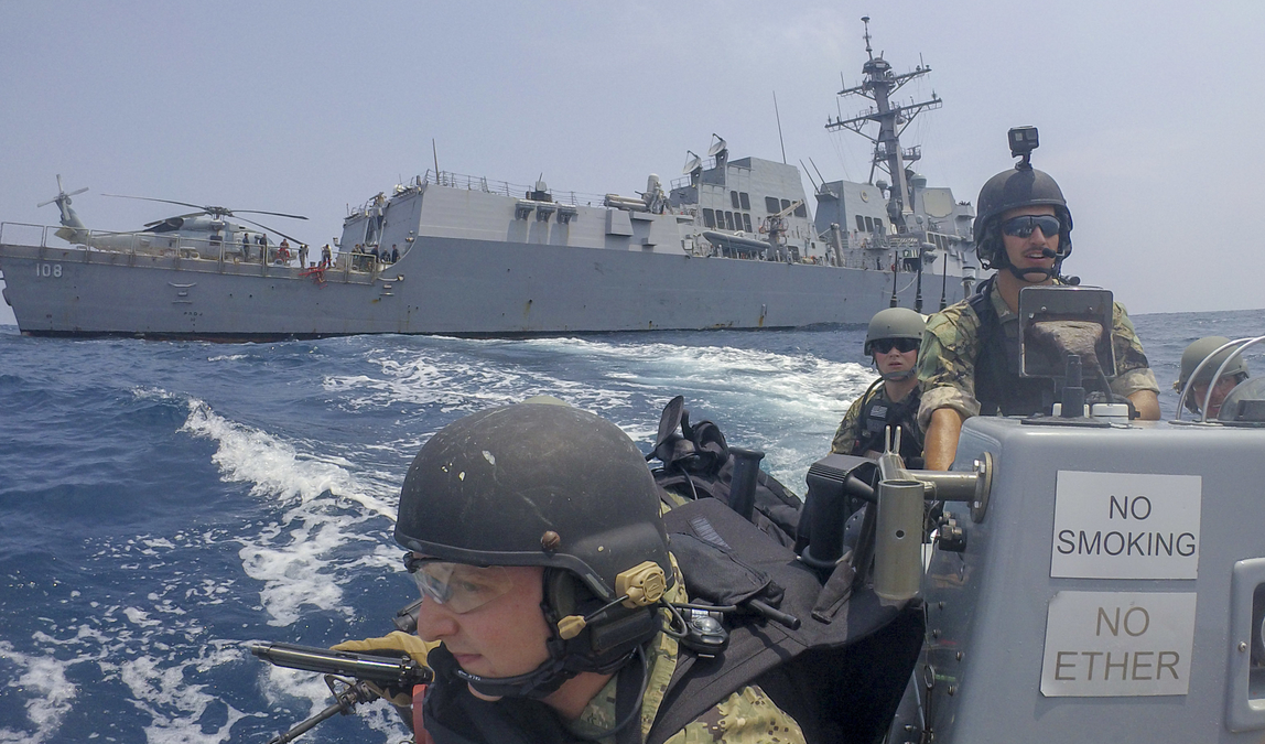 Sailors ride a rigid-hull inflatable boat from the guided-missile destroyer Wayne E. Meyers during a visit, board, search and seizure drill as part of a Sept. 5 Association of Southeast Asian Nations -U.S. Maritime Exercise in the Gulf of Thailand. (Mass Communication Specialist 2nd Rawad Madanat/Navy)