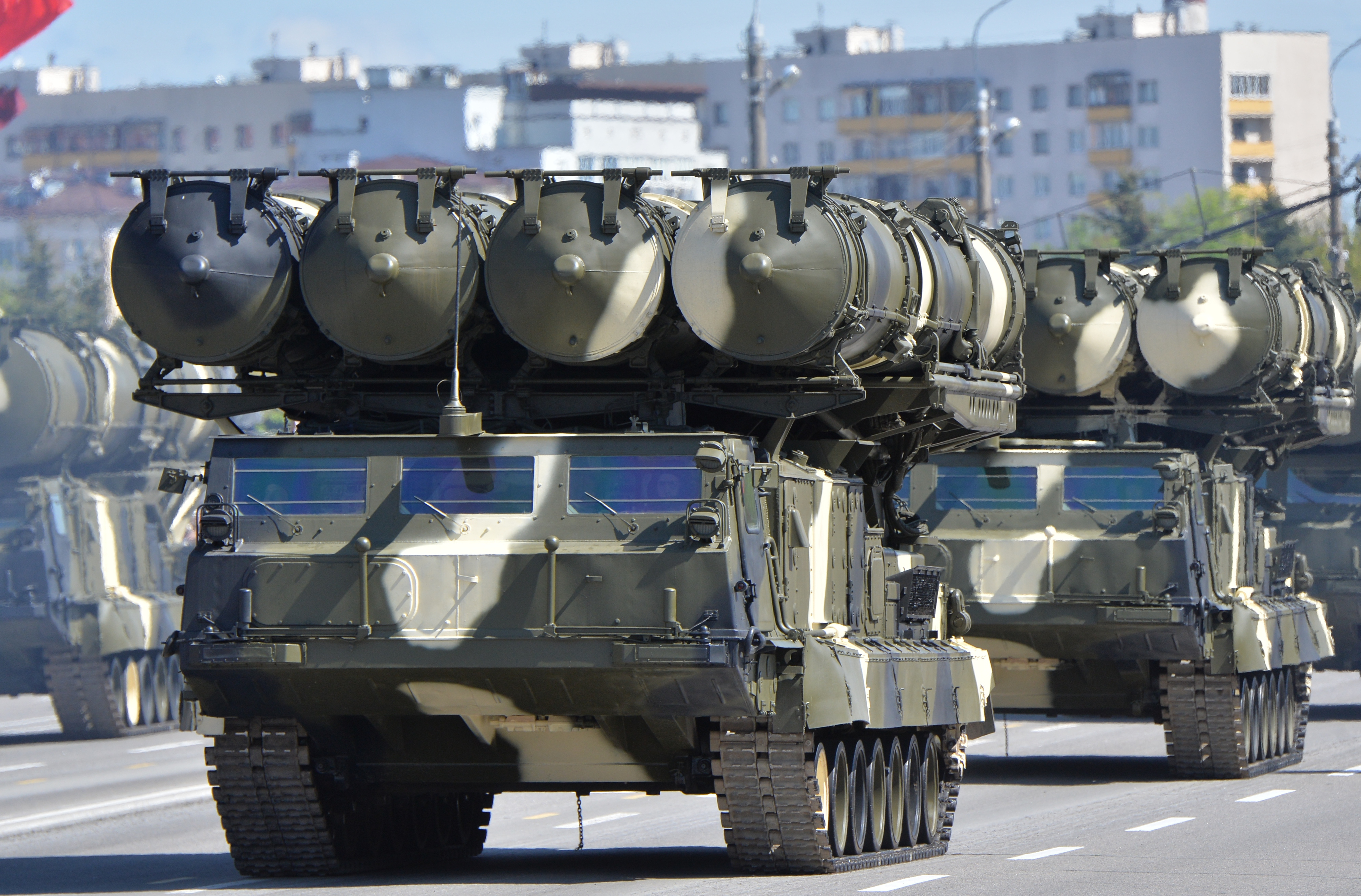 S-300 long-range surface-to-air missile systems are on display during a celebration on May 9, 2015, in Minsk, Russia. (Host photo agency/RIA Novosti via Getty Images)
