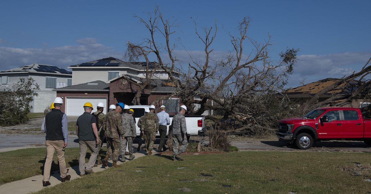 Air Force senior leaders tour base housing at Tyndall Air Force Base, Florida, Oct. 14, assessing the damage from Hurricane Michael. Service members affected by the hurricane can get assistance from relief groups. (Air Force/Senior Airman Joseph Pick)