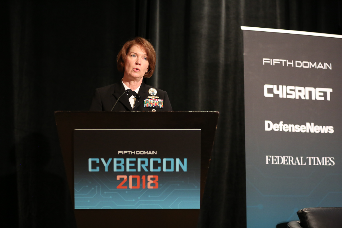 Vice Admiral Nancy Norton, commander of Defense Information Systems Agency (DISA), delivers a keynote at CyberCon 2018 in the Ritz-Carlton Pentagon City on November 1, 2018.