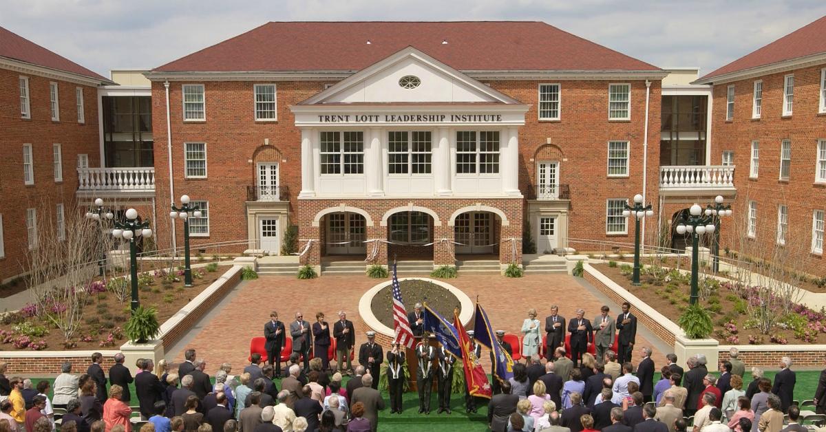 The 2004 dedication of the university's Trent Lott Leadership Institute. (Robert Jordan/AP)