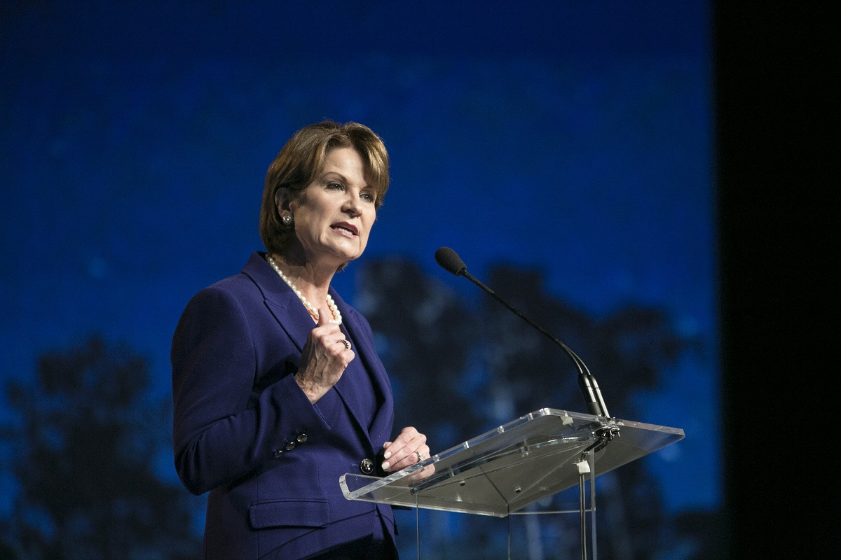 Marillyn Hewson, president and CEO of Lockheed Martin, plans to use money from the recent U.S. tax cuts to boost R&D spending. (Laura Buckman/AFP via Getty Images)