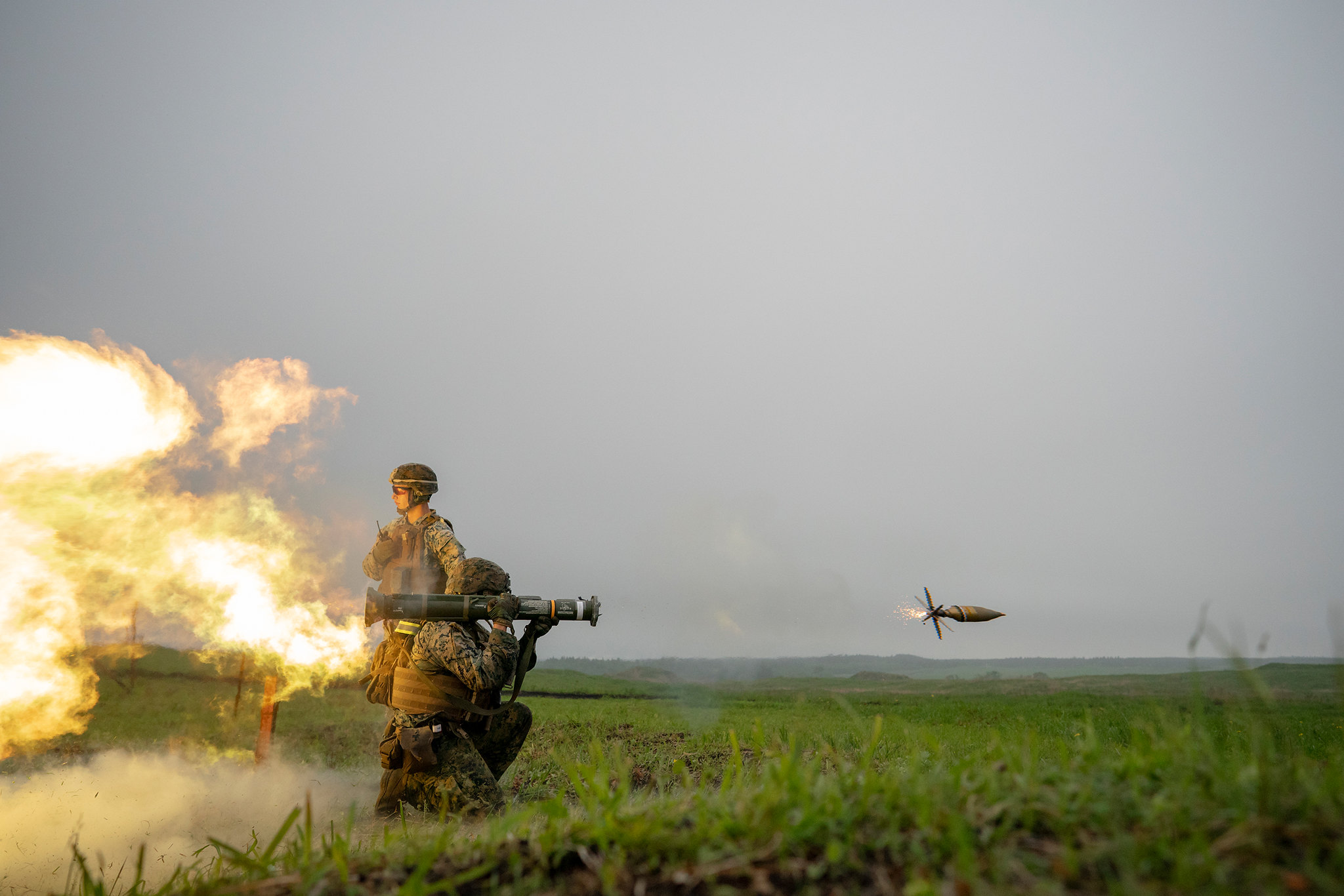 Cpl. Chris Anderson fires an AT4 rocket launcher on May 22, 2019, during a live fire training exercise at Combined Arms Training Center, Camp Fuji, Japan. (Cpl. Esgar Rojas/Marine Corps)