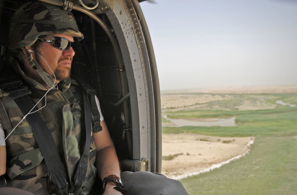 Toby Keith on his fourth USO tour to perform for troops in Germany and Northern Iraq in 2006. Traveling by Black Hawk helicopter (UH-60), Toby Keith visits troops at FOBs in Northern Iraq as part of his annual USO Tour. (Dave Gatley/USO)