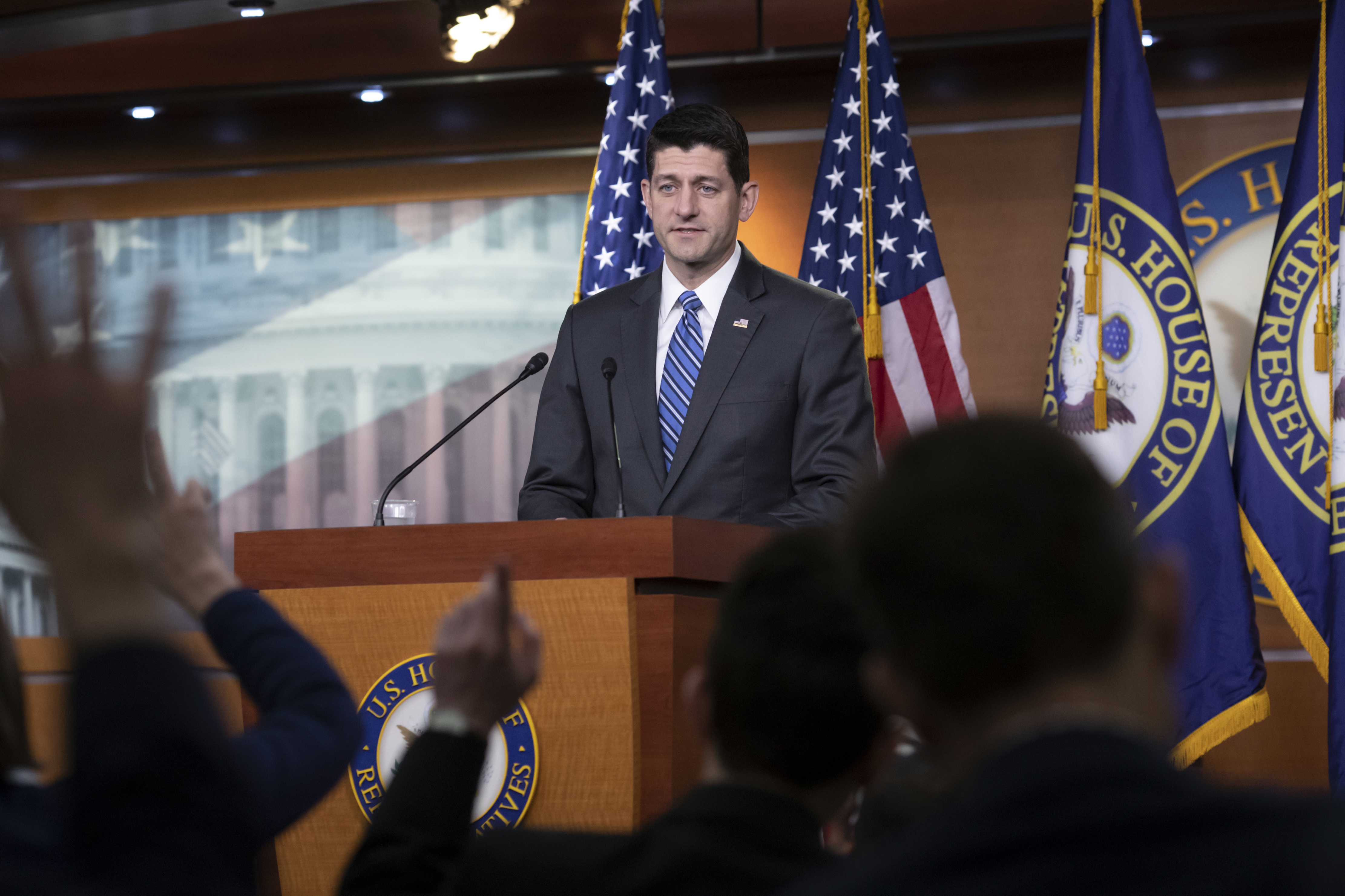 Speaker of the House Paul Ryan, R-Wis., promotes this year's renewal of the farm bill during a news conference on Capitol Hill in Washington, Thursday, May 17, 2018. GOP leaders crafted the bill as a measure for tightening work and job training requirements for food stamps, but failed to get it passed. (J. Scott Applewhite/AP)