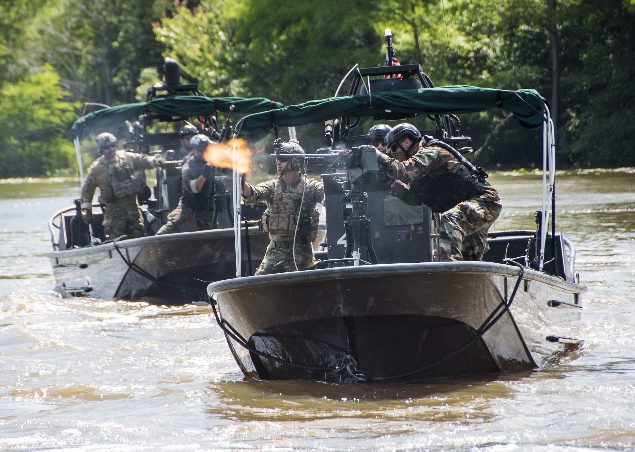 Naval Small Craft Instruction and Technical Training School students participate in a Patrol Craft Officer Riverine training exercise April 29, 2019, at the John C. Stennis Space Center, Miss. (Michael Williams/Navy)