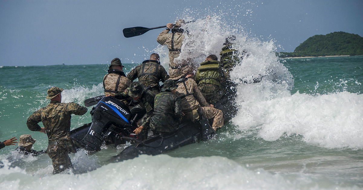 U.S and Royal Thai Marines conduct small boat operations in support of Cooperation Afloat Readiness and Training Thailand 2018. (MC3 Tristin Barth/Navy)