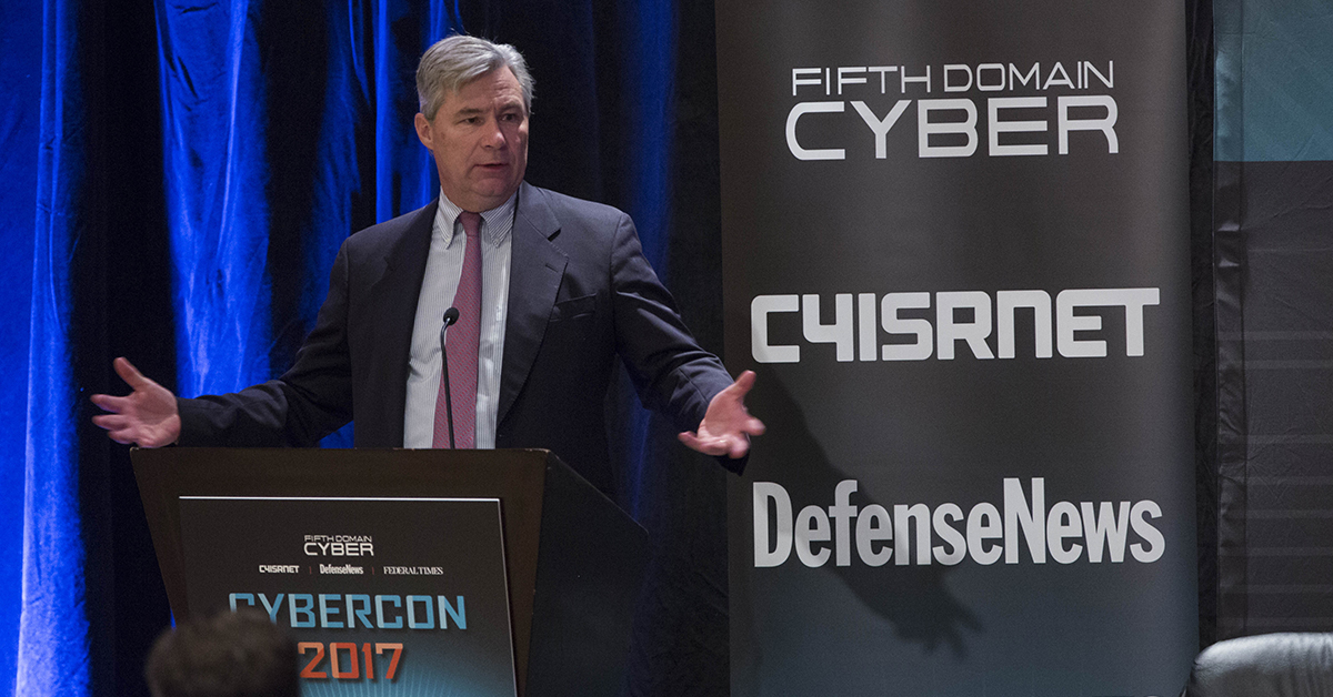 Sen. Sheldon Whitehouse, D-R.I., gives a keynote speech during Cybercon 2017, emphasizing the need for NIST stress-tests and cybersecurity focused inspector generals, at the Ritz-Carlton Hotel in Pentagon City on Nov. 28, 2017. (Alan Lessig/Staff)