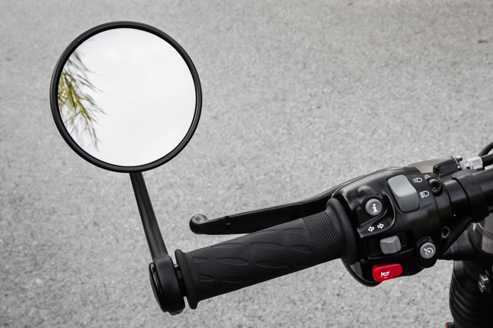 The bar-end mirrors adhere to the rest of the bike's robust style. (Triumph Motorcycles)