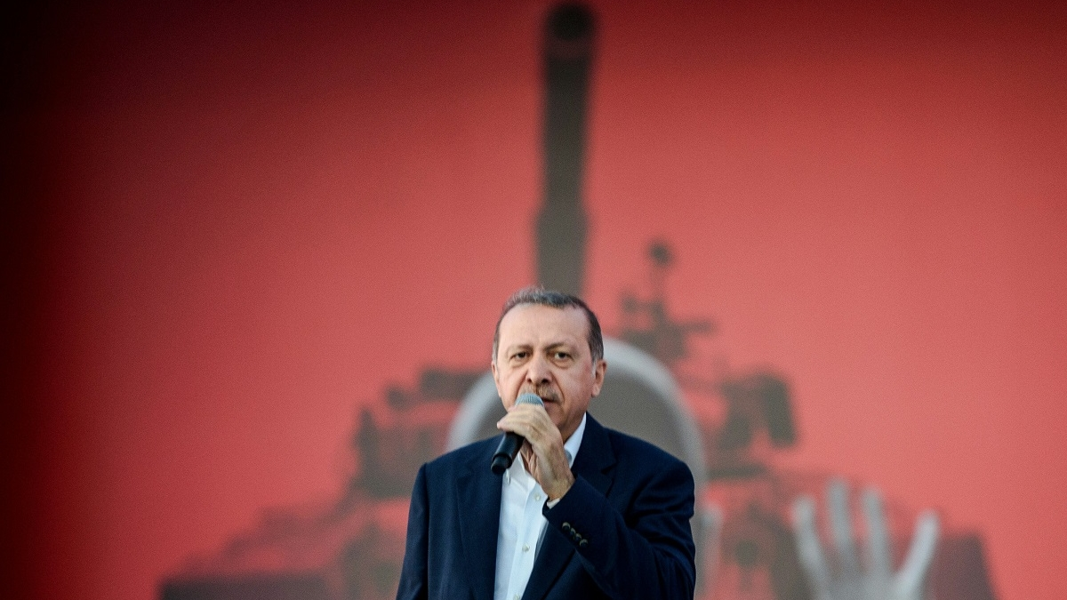 Turkish President Recep Tayyip Erdogan has made growing the country's defense industry a long-term goal. (Ozan Kose/AFP via Getty Images)