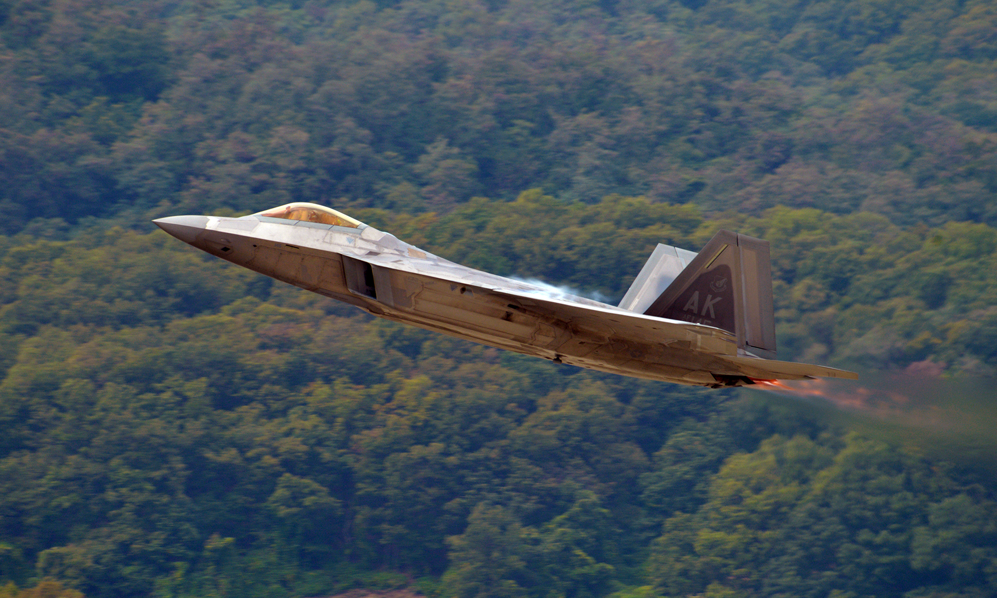 A U.S. Air Force F-22 Raptor from the Air Combat Command F-22 Raptor Demonstration Team takes off during the Seoul International Aerospace and Defense Exhibition (ADEX) 2017 press day at the Seoul Airport, Republic of Korea, Oct. 16, 2017. The (Staff Sgt. Alex Fox Echols III/Air Force)