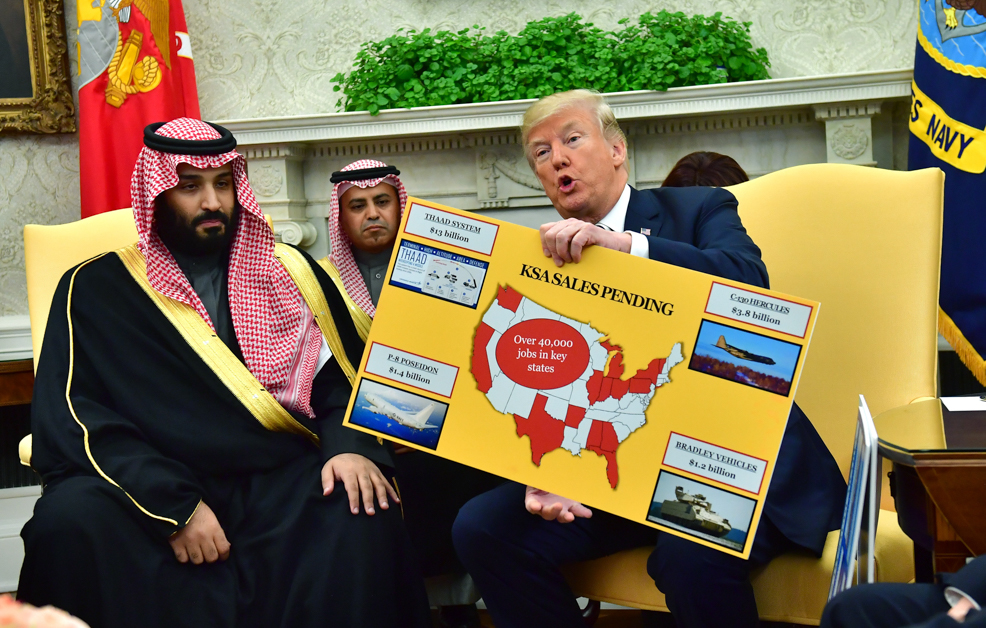 President Donald Trump, right, holds up a chart of military hardware sales as he meets with Crown Prince Mohammed bin Salman of the Kingdom of Saudi Arabia in the Oval Office at the White House on March 20, 2018, in Washington. (Kevin Dietsch/Pool/Getty Images)