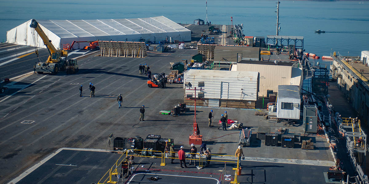 The flight deck of the next-gen carrier Gerald R. Ford is getting extensive work while the ship is in the yards. (Mark D. Faram/Staff)