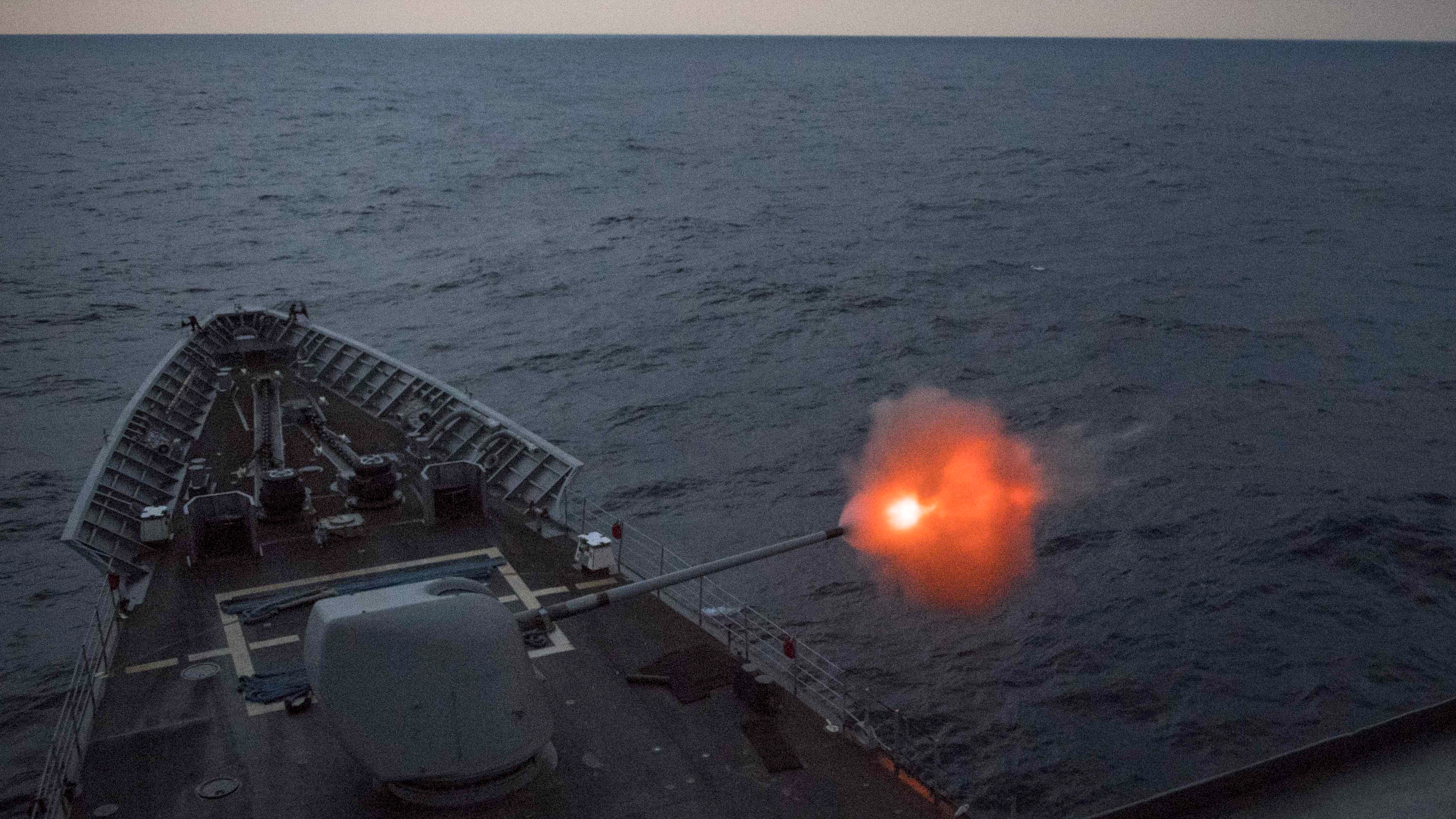 The Ticonderoga-class guided-missile cruiser USS Chancellorsville (CG 62) fires its 5-inch gun during a live-fire gunnery exercise. Chancellorsville is forward-deployed to the U.S. 7th Fleet area of operations in support of security and stability in the Indo-Pacific region. (MC2 Jeremy Graham/Navy)