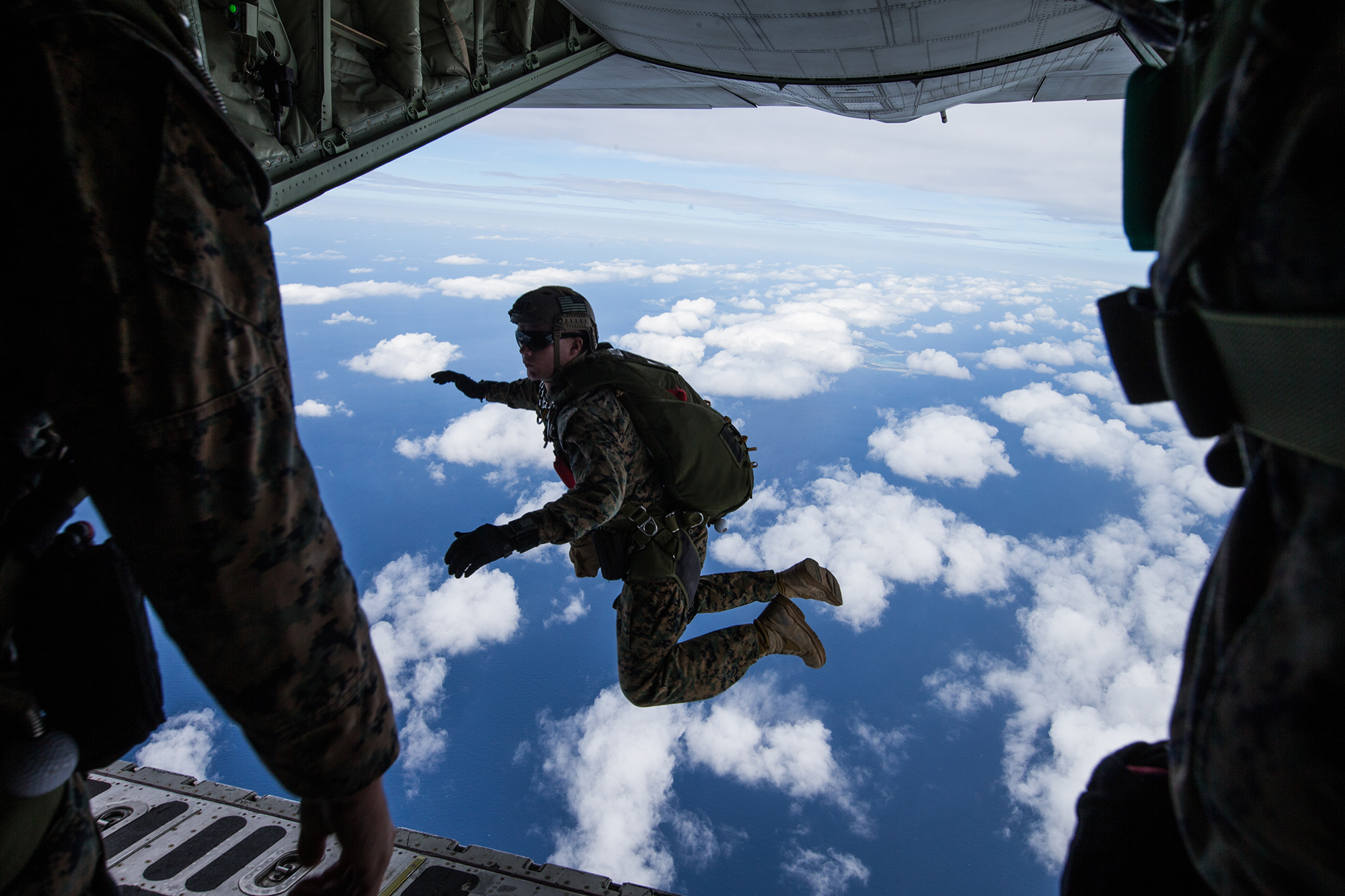 Marines conduct parachute operations by jumping out of a KC-130 Hercules on Ie Shima, Okinawa, Japan, Oct. 28-30, 2019. (Cpl. Josue Marquez/Marine Corps)