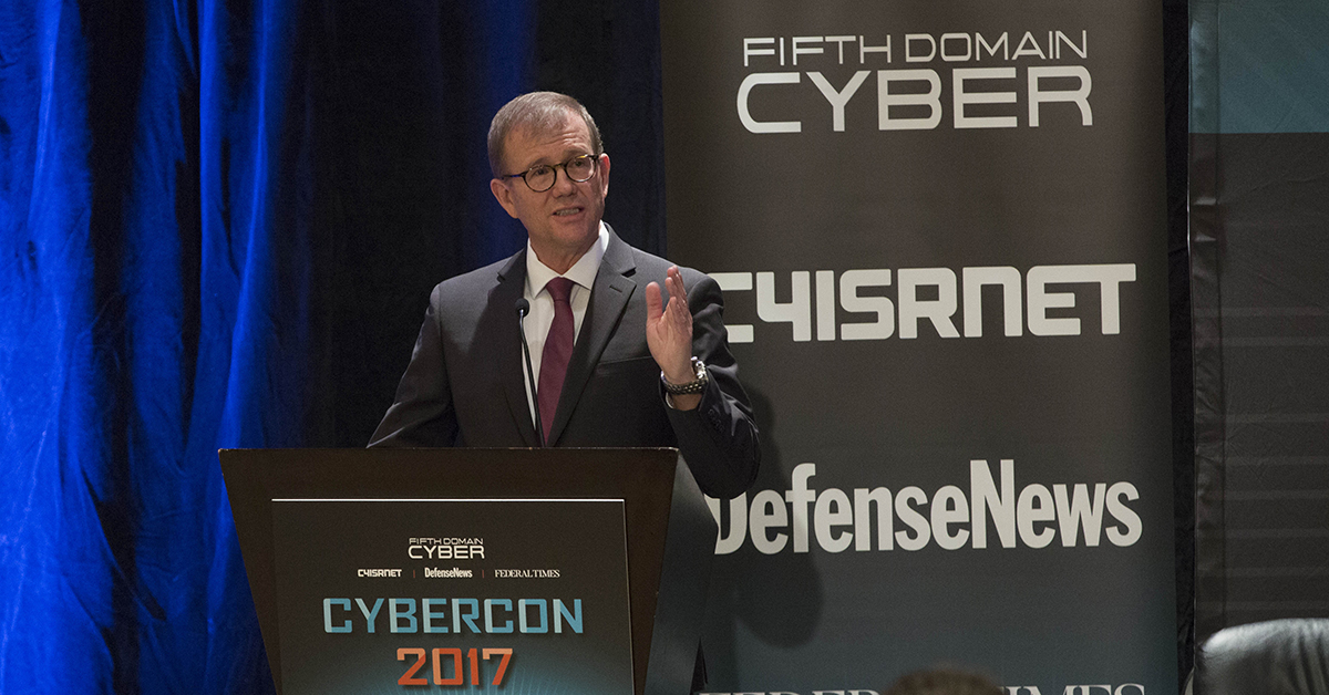 Dr. Brian Pierce, Director, Information Innovation Office, DARPA, gives a keynote speech focusing on U.S. cyber deterrence at Cybercon 2017 at the Ritz-Carlton Hotel in Pentagon City on Nov. 28, 2017. ( Ben Murray/Staff)