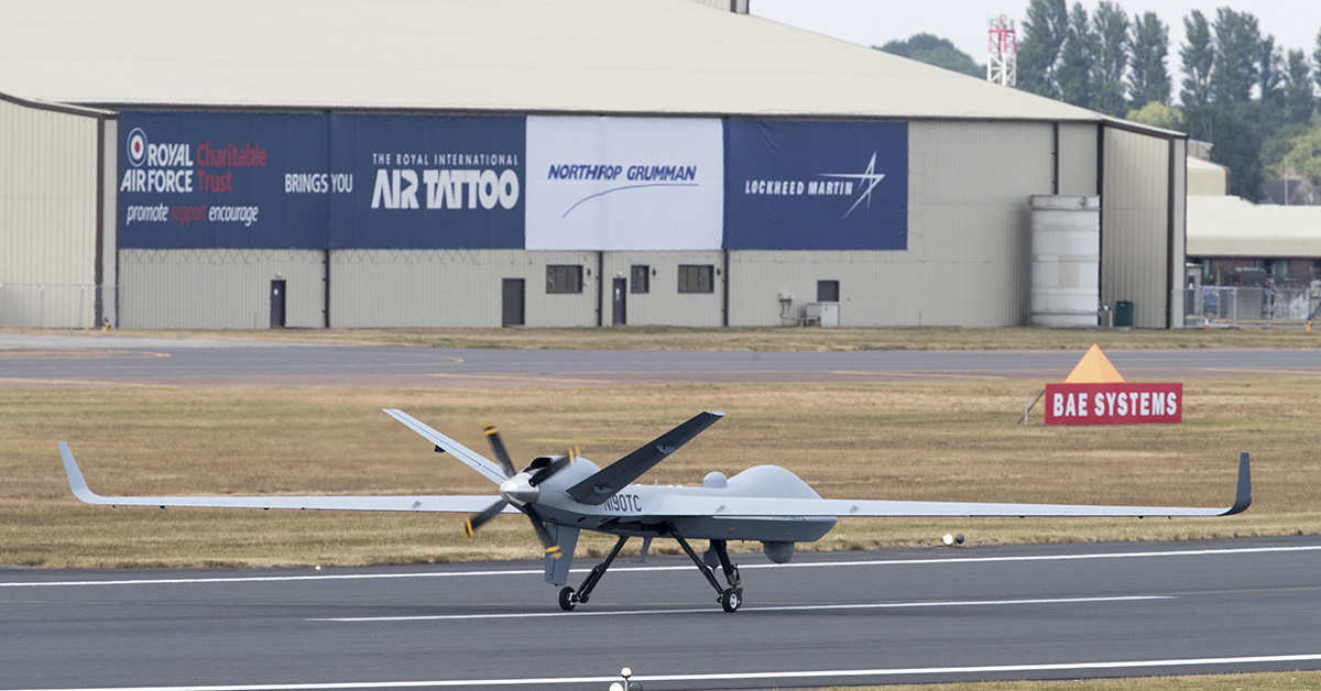 A general Atomics Aeronautical Systems Inc SkyGuardian remotely piloted aircraft arrives at RAF Fairford after completing the first transatlantic flight for such an aircraft, on July 11, 2018 in Gloucestershire, England. The 38ft long unmanned drone that has a 79ft wingspan, which took off from its base in North Dakota last night, will be on display at the Royal International Air Tattoo (RIAT) this weekend. Remotely piloted aircraft are increasingly important for both civilian and military applications, including the RAF, who are due to bring into service a variant of the SkyGuardian, which it is hoped will improve its long-range surveillance and precision strike capabilities. (Photo by Matt Cardy/Getty Images)