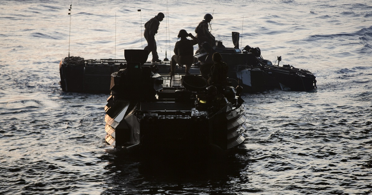 Marines with Combat Assault Battalion, 3rd Marine Division embark amphibious assault vehicles onboard the Green Bay (LPD 20) during Blue Chromite 2017 in the waters of Okinawa, Japan, October 29, 2016. (Lance Cpl. Jesus McCloud/Marine Corps)