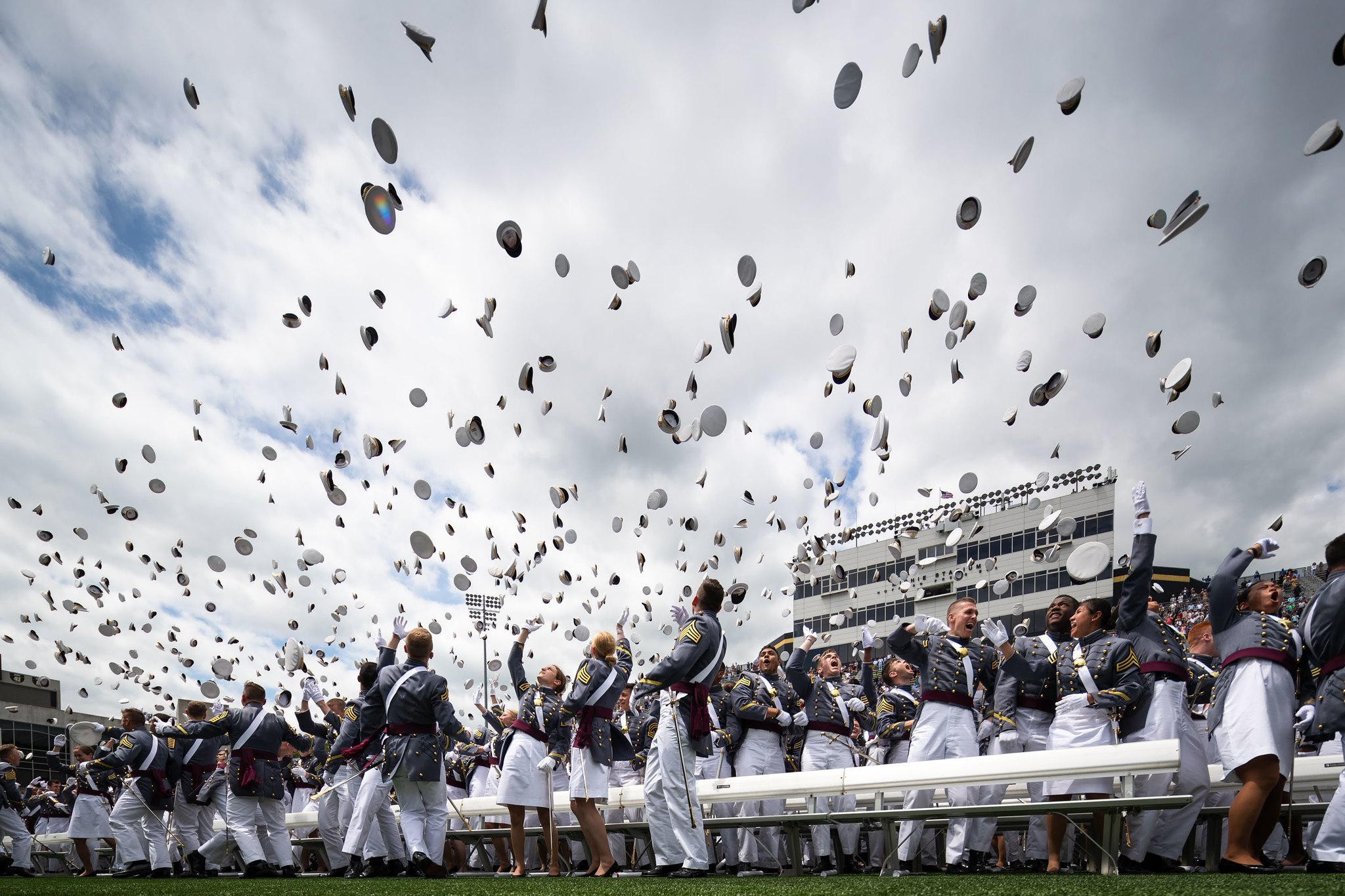 The U.S. Military Academy at West Point held its graduation and commissioning ceremony for the Class of 2019 at Michie Stadium in West Point, N.Y., May 25, 2019. This year, 985 cadets graduated. (Cadet Alex Gudenkauf/Army)