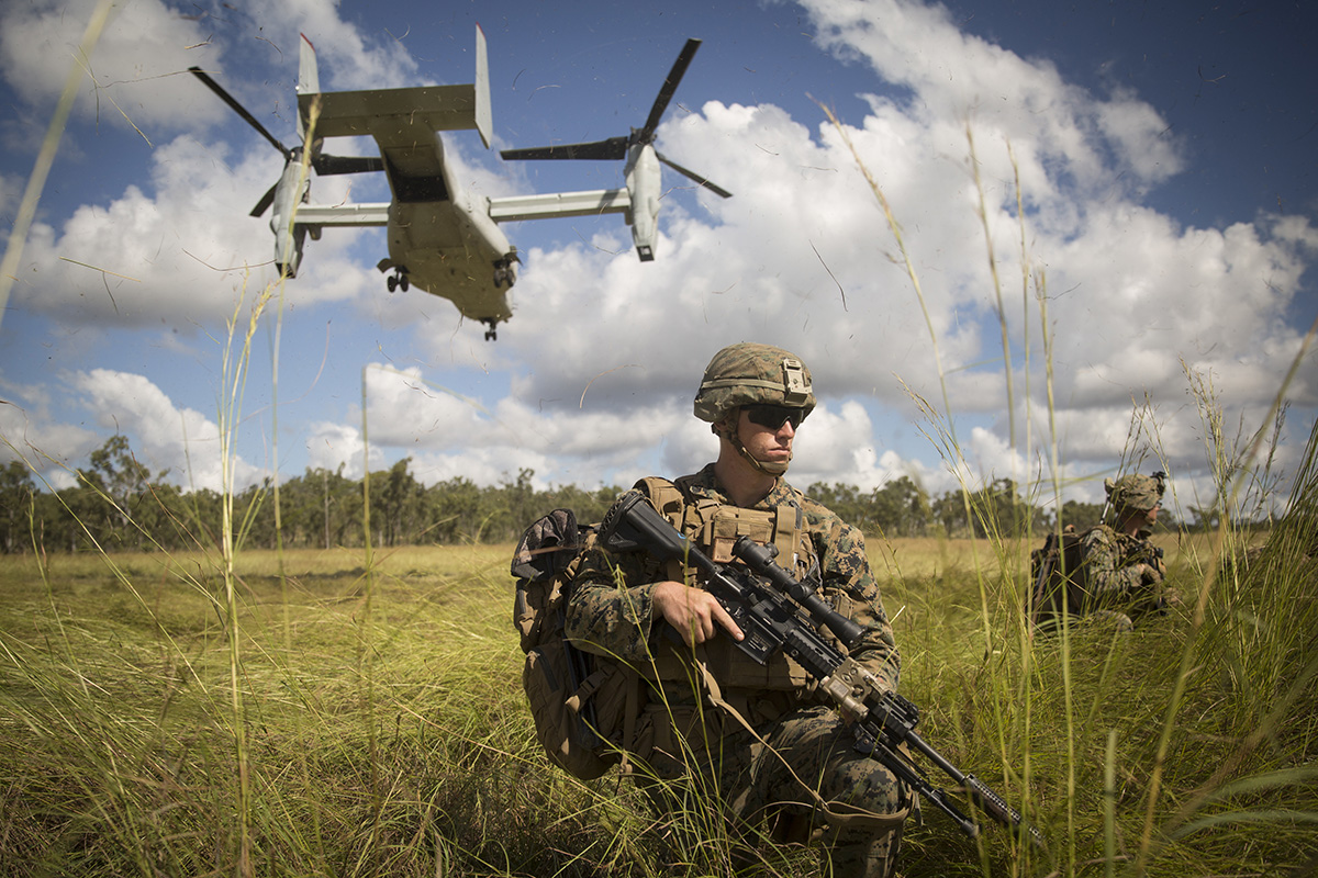 U.S. Marines with the Ground Combat Element and the Aviation Combat Element, Marine Rotational Force – Darwin (MRF-D), conduct an aerial insert via an MV-22 Osprey during Exercise Southern Jackaroo, Shoalwater Bay Training Area, Queensland, Australia, May 25, 2019. (Staff Sgt. Jordan Gilbert/Marine Corps)