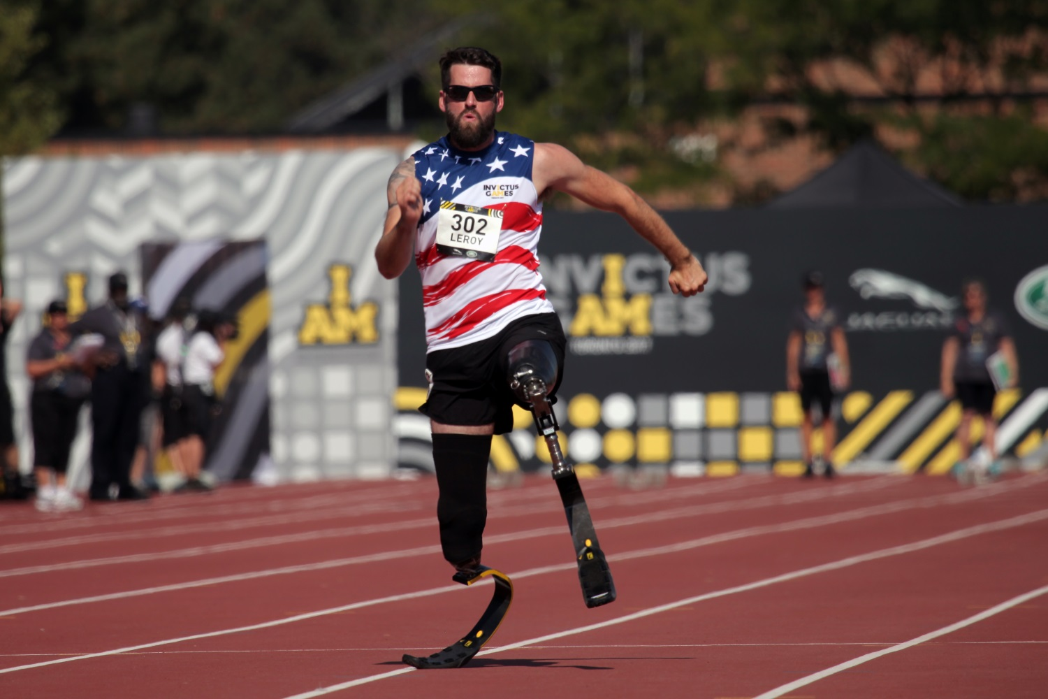 U.S. Army veteran Sgt. Stefan Leroy competes in the Invictus Games' 100-meter dash event at York Lions Stadium in Toronto, Canada, on Sept. 24, 2017. The Invictus Games was created by Prince Harry of Wales. (Staff Sgt. Daniel Luksan/Army)
