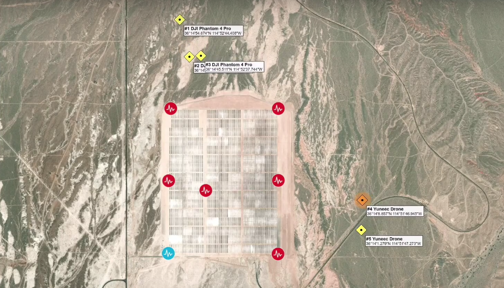 With proprietary software and several sensor nodes, the Dedrone system is able to detect and track five incoming drones, providing valuable information about them to the person monitoring the system. (Kelsey D. Atherton / Screenshot, Dedrone YouTube Channel)