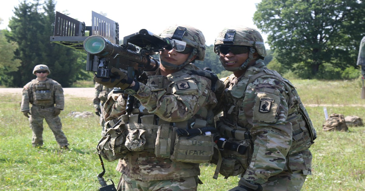 Instructors from the Air Defense Artillery Center and School at Fort Sill, Oklahoma, teach soldiers from the 173rd Airborne Brigade how to conduct short-range air defense operations at the Grafenwoehr Training Area in Germany. (Army)