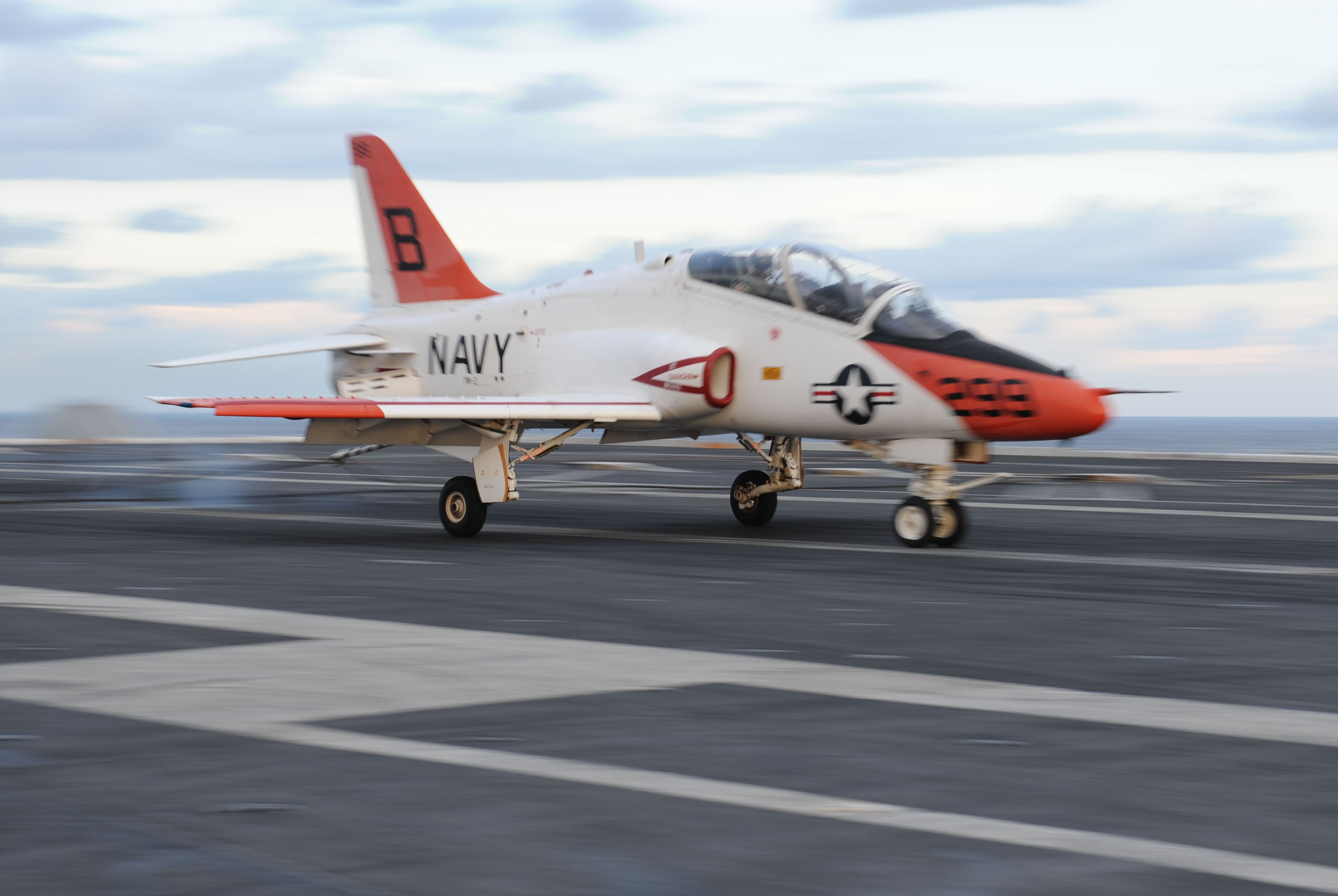 A T-45C Goshawk assigned to Training Air Wing 1 from Meridian, Miss., is launched from the flight deck of the U.S. Navy aircraft carrier Theodore Roosevelt. (MCSN Jennifer Fournier/U.S. Navy)