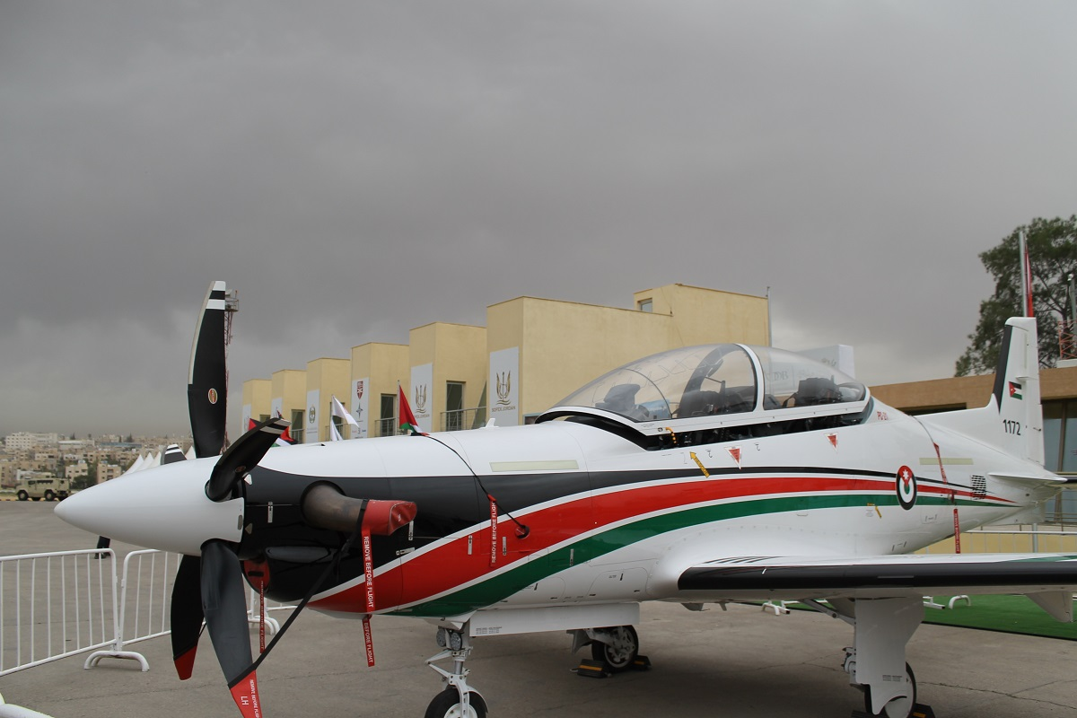 Jordan's new trainer made its debut at SOFEX this year based on the Grob G 120TP and the Pilatus PC-21 aircraft, shown. Several other Middle Eastern partners of the United States also have this trainer. (Jen Judson/Staff)