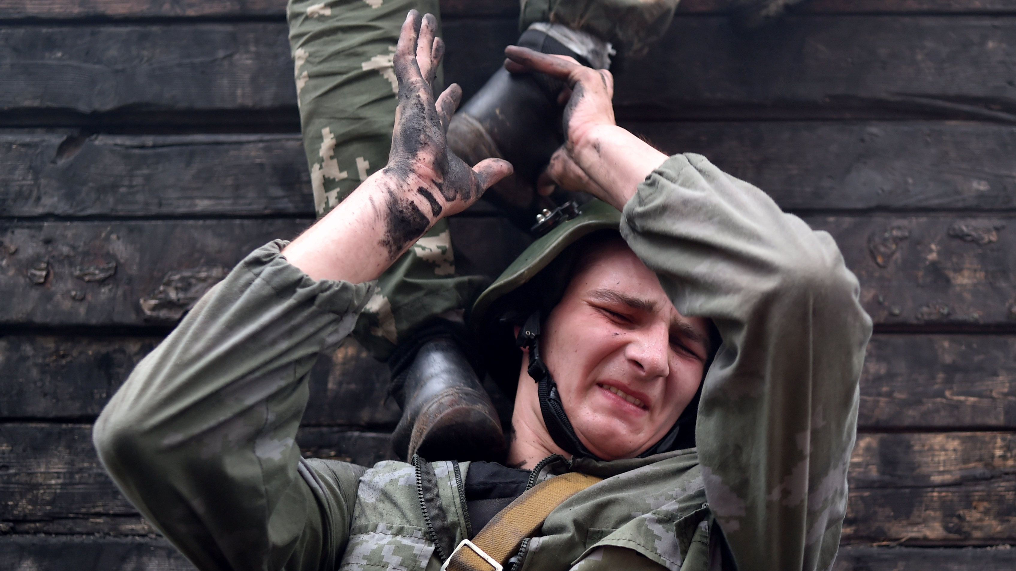 Belarus Interior Ministry troops soldiers take part in the qualifying examinations for the