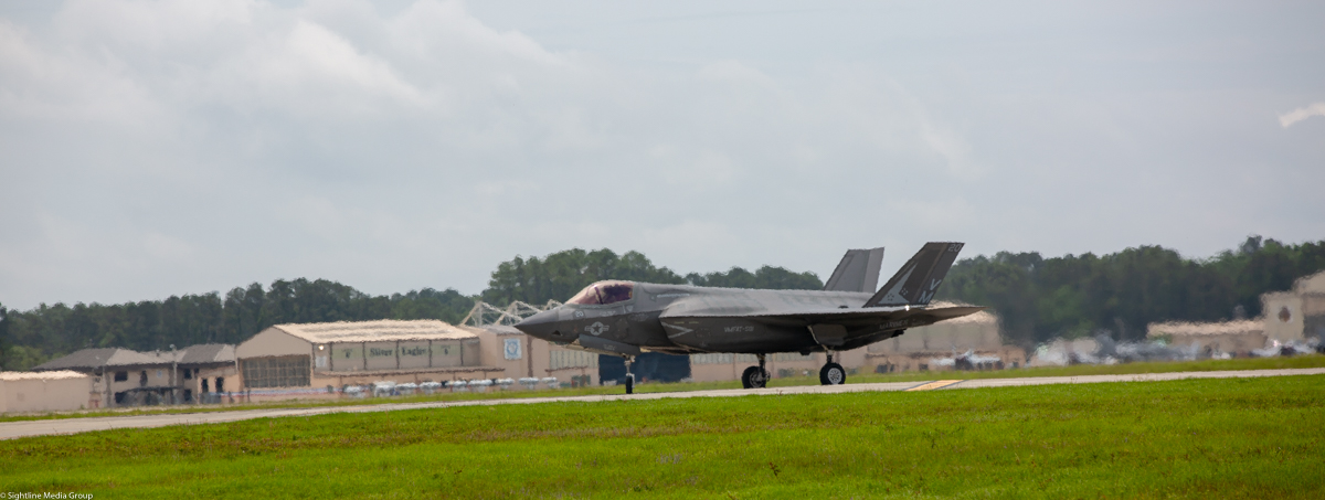 A USMC F-35B of VMFAT-501 taxis after returning from a training flight. (Jeff Martin/Staff)