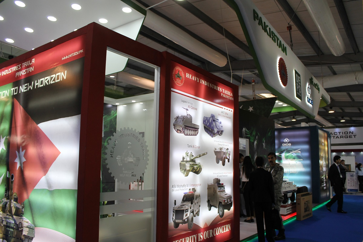 While some companies with larger presence in the past scaled back this year at SOFEX, or didn't attend at all, Pakistan caught the eye of show-goers with a very large booth in one of the international pavilions in an attempt to show the Middle East and the rest of the world how it's trying to grow its own defense industry. (Jen Judson/Staff)