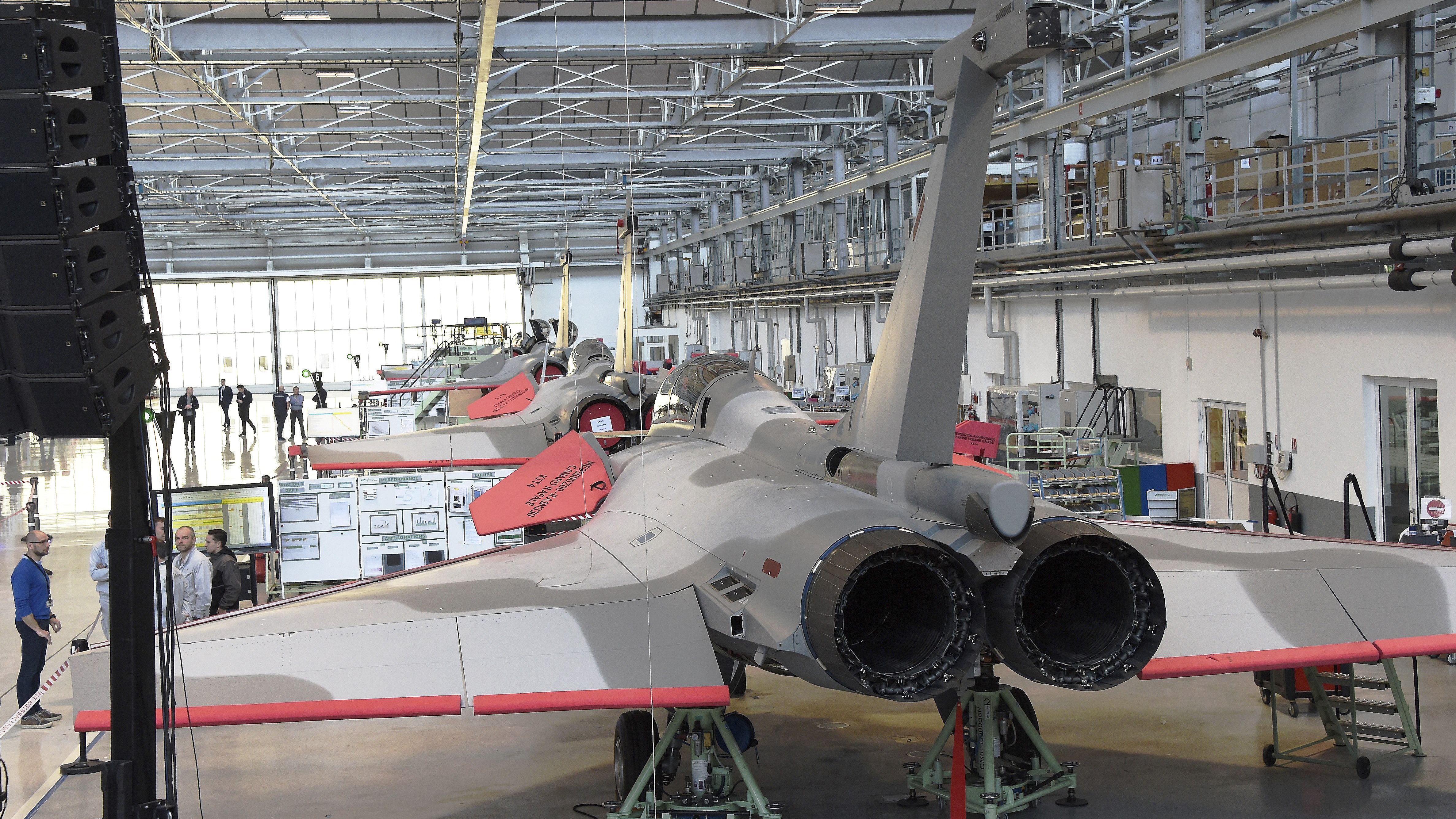 Dassault Aviation's Rafale fighter jets sit on an assembly line in Merignac, southwestern France, on January 14, 2019. - French Defence Minister, Florence Parly, launched on January 14, 2019 a 1,9-billion-euro-program for the new F4 standard of the Dassault Rafale combat aircraft. (MEHDI FEDOUACH/AFP/Getty Images)