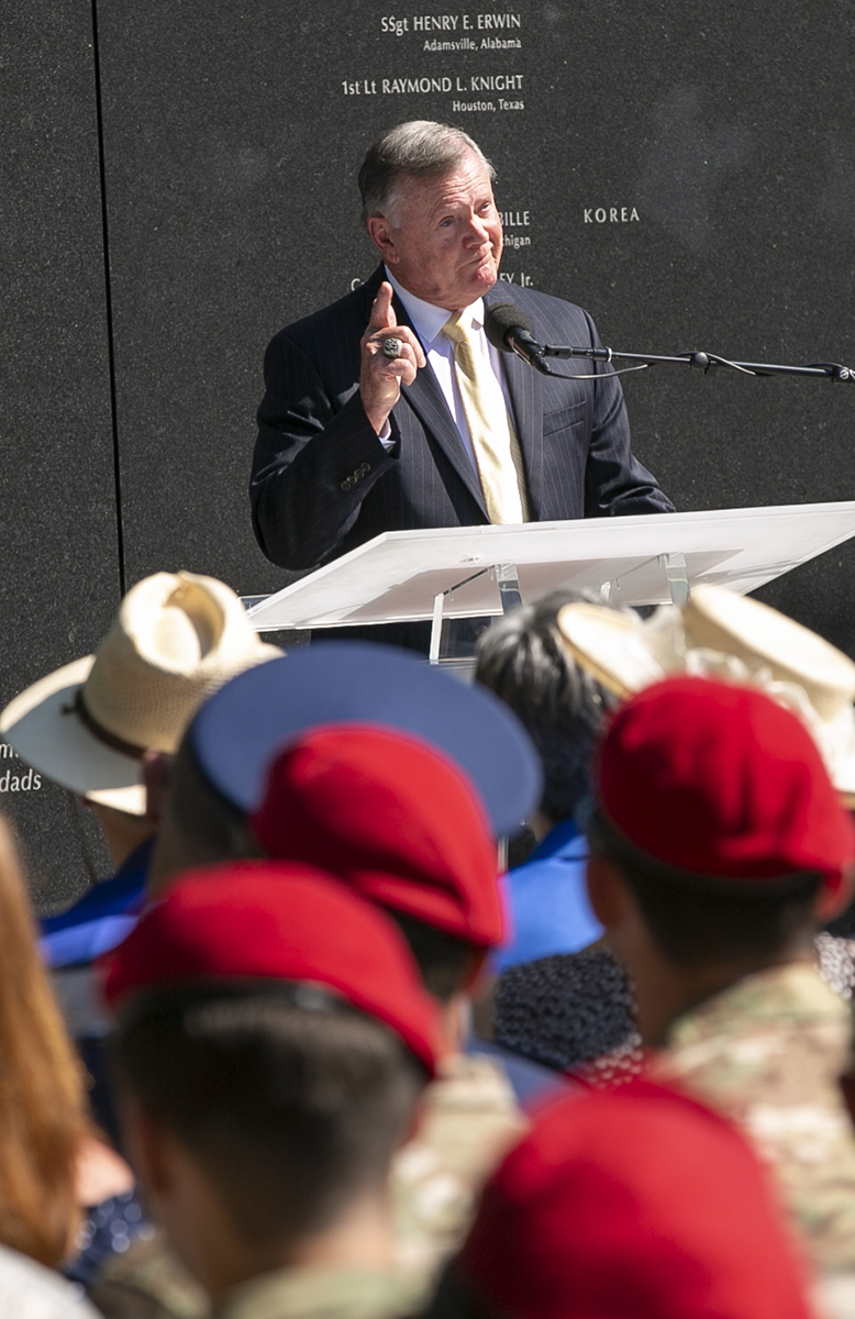Col. (ret.) John Carney, considered the father of Air Force special tactics, gets emotional as he speaks during Tech. Sgt. John Chapman's name unveiling ceremony at the Air Force Memorial, in Arlington, Va., Aug. 24, 2018. Chapman was posthumously awarded the Medal of Honor for actions on Takur Ghar mountain in Afghanistan on March 4, 2002.
