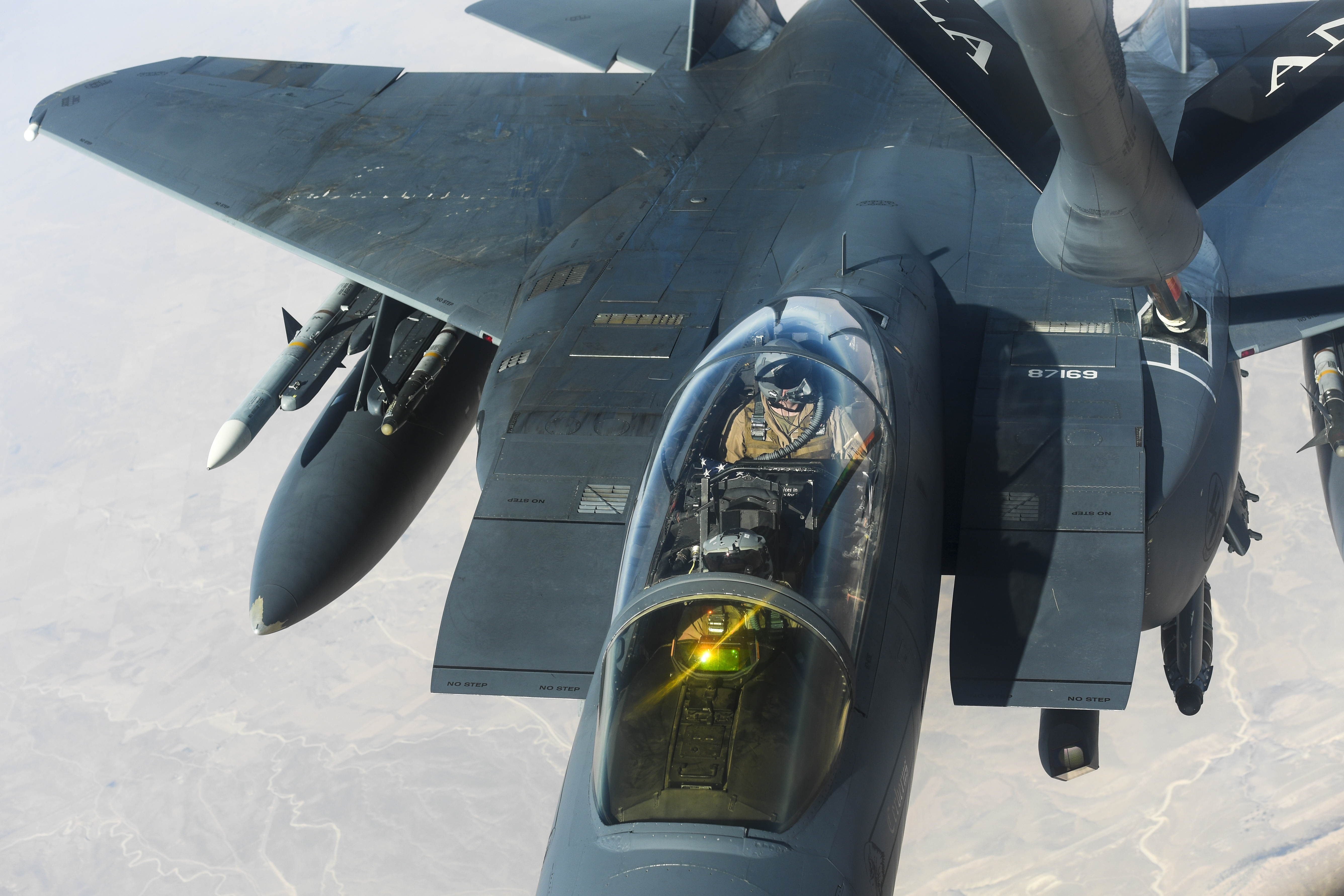 An F-15E Strike Eagle receives fuel from a KC-135 Stratotanker during a combat air patrol mission, Nov. 15, 2019. (Master Sgt. Joshua L. DeMotts/Air Force)