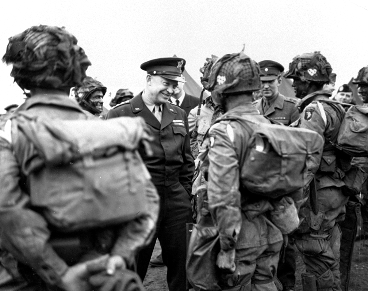In this June 6, 1944, file photo, provided by the U.S. Army Signal Corps, Gen. Dwight Eisenhower gives the order of the day,
